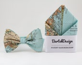 Ice Blue Matching Set Bow Tie and Pocket Square Map Bow Tie Map Pocket Square Ice Blue Handkerchief Gift for Men Groomsmen Bow Tie World Map
