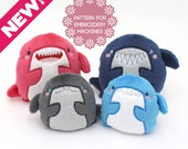 ITH in the hoop shark plush embroidery machine design - plushie pattern 4 faces 2 sizes - kawaii stuffed animal soft toy
