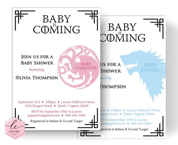 Dragon Baby Shower Invitation Game Of Thrones Baby Shower