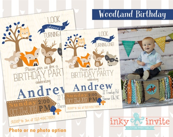 Little boys woodland 1st birthday party invitation look whooos one il570xn filmwisefo