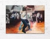Cape Walk - Original Oil Painting. Cape Walk, West Coast Swing Dancers; 36×48″ oil/canvas. Jodee Clifford. 2018