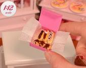 Miniature Cream Puffs & Eclairs Box - Chocolate, 1/12 Scale Dollhouse Desserts