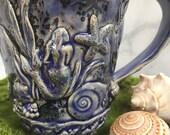 18# Giant Ceramic Stoneware Coffee Cup - Mermaid Ocean Design