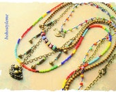 Bohemian Jewelry, Whimsical Bird Necklace, Hand Knotted, Colorful Beaded Necklace, bohostyleme, Kaye Kraus