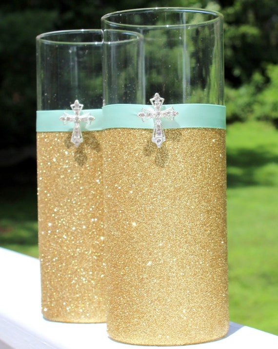 Gold Silver Rhinestone Crystal Sparkle Cross Vase For Communion