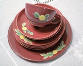 Vintage Coors Pottery Rosebud Plates Cup Saucer Rose Color 10 pcs  Luncheon Dessert Plate Replacement USA Panchosporch