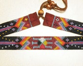 beaded hat band, medicine turtle hand made hat band HB042