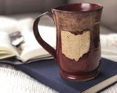 Ohio Mug, Red, 16 ounce, Oversized Mug, Columbus, Cleveland, Handmade Mug, Farmhouse Mug, Coffee Mug, Large Mug, Ceramic Mug, Ohio State