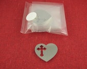 """Clearance - 1 1/4"""" Heart With Cross Cut Out Aluminum Stamping Blanks, 14 Ga Thick, 1100 Aluminum, 10 Pieces"""