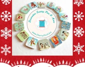 Christmas buttons - Holiday buttons - Square Buttons - Quilting buttons - Scrapbooking buttons - Cherry Chick - Sewing Buttons
