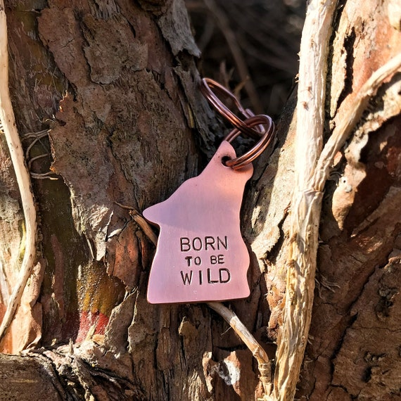 Wolf Dog Tag, Hand Stamped Tag, Hand Cut Copper, Brass, Aluminium