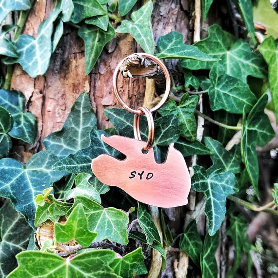 Sloth Dog Tag, Hand Stamped Tag, Hand Cut Copper, Brass, Aluminium