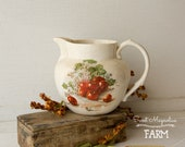 Vintage Cherries Cherry Blossom Pitcher - Water Milk Tea Pouring Pitcher - Shabby Farmhouse Country Chic Decor - Florence Cook Pottery Co.