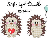 digitale Stickdatei Süße Igel Doodle 13x18cm