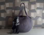 NEW COLOURS: Big Round GREY Basket Bag, Monochrome Basketbag, French Style Basket Bag, Handmade Rope Bag
