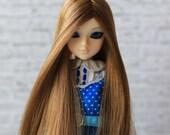 Light Brown Long Wig for J-doll, Momoko, Obitsu 3.5-4 inch