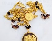 Necklace - Holy Trinity Angels Icon - 18K Gold Vermeil - Genuine Garnet - 18K Gold Plated Parisian 26.5 Inch Chain