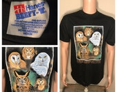 Vintage Owl T-shirt // north american owls Great horned snowy bran screech saw-whet owls // Vintage 90s 1993 black shirt // deadstock Medium