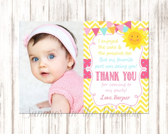 Sunshine Thank You Card With Photo You Are My Sunshine Party