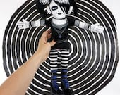 Goth Doll - 2000's gothic plush dressed in fishnet, stripes and big boots
