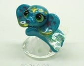 Flying Baby Elephant - Superhero Wee Elephant Sculpture on glass crystal prism - handmade polymer clay sculpture