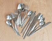 Starburst Citation Pattern Silverware 22 pieces by Mar-Crest Stainless Steel Mid Century Modern 60s Retro Atomic