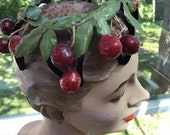 "Vintage 1950s Hat Cherry Cherries Black Velvet Wire ""Cage"" Style Hat Green Leaves Netting"