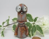 Steampunk Robot monster with screw nose signed dated by Janell Berryman Pumpkinseeds folk art