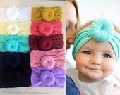 U PICK TURBAN Head wraps Bows, Fabric cotton knot headbands, Large pack of girls, baby, newborn, hairwraps  pink aqua ivory nylon