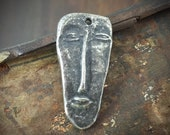 Primitive Face Pendant, Handcrafted Handmade Jewelry Making Components, Artisan Crafted DIY Jewellery Supplies, Hand Cast Pewter No. 127-PD