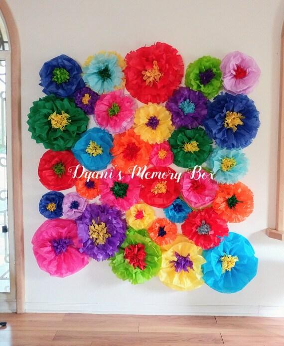 Fiesta tissue paper flowers backdrop coco birthday party decor il570xn mightylinksfo