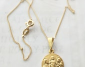 Necklace - Holy Family 18K Gold Vermeil - 16.5mm + 18 Inch Italian 18K Gold Vermeil Chain
