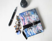 """Blue Junk Journal, Textured Cover, Mixed Paper Book, Recycled Paper Art Journal, Hardcover, OOAK Mixed Media Glue Book, 5"""" x 7"""" Daily Diary"""
