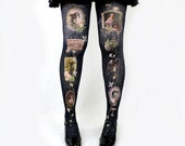 Victorian Mourning Tights - Gothic Lolita Black Classic Lolita Tights Horror Tights - Memento Mori Tights by Violet Fane