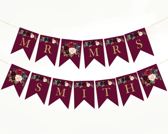 Mr And Mrs Banner Wedding Signs Wedding Welcome Sign Template