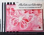 Grußkarten Set ST 117 Schmetterling Aquarell rot