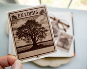 oak tree bookplates - masculine book plates - Ex Libris - bookplate stickers - custom bookplate - bookworm for him - gift under 20 - kraft