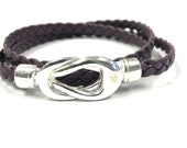 Infinity Knot Wrap Bracelet, Leather Jewelry, Braided Flat Leather, Leather Cuff Bracelets, Gift for Her, Leather, Triple Wrap, Bangles