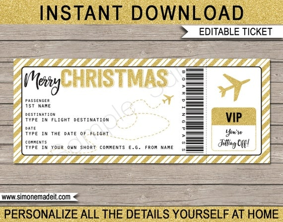 christmas gift airplane ticket printable boarding pass surprise