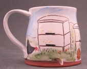 Chicken and Bee Hive Ceramic Mug with Bees