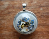 Wasp and forget me not necklace with chain or rope handmade unusual english pendant naturally deceased wasp
