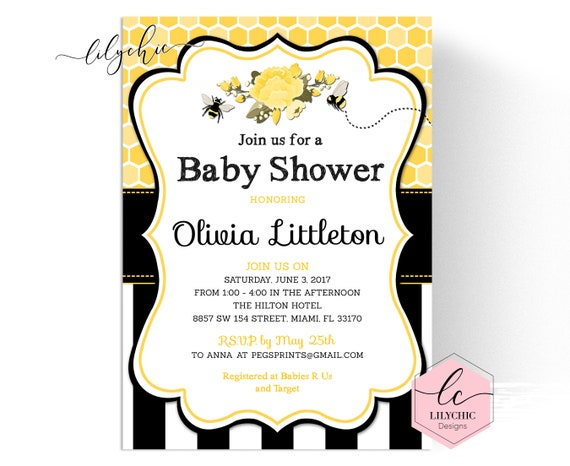 Bee baby shower invitation printable bumble bee baby shower il570xn filmwisefo