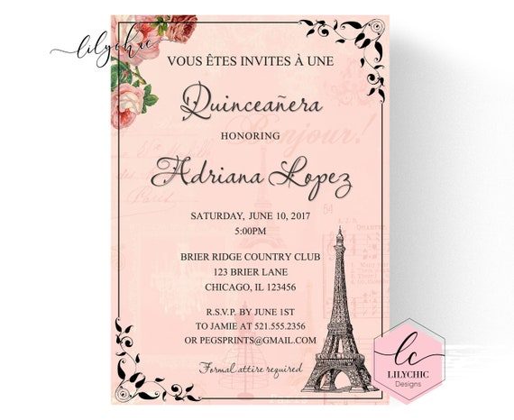Paris quinceanera invitation quinceanera invitation printable il570xn stopboris Choice Image