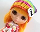 OMG Kat Hat - A Crochet Blythe Doll Hat for Kenner Neo - Blythe Hat  - Crochet Beanie - Pullip - Blythe Clothes - Eriko's Emporium