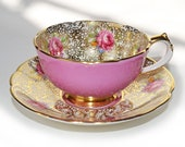 Vintage Paragon Rose Colored Demitasse Bone China Tea Cup, Gold Gilt and Roses