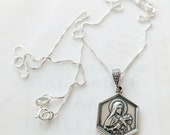 Necklace - St Therese of Lisieux 17x23mm - Sterling Silver + 18 Inch Italian Sterling Silver Chain
