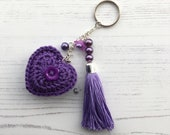 Keyring Bag Charm with Beaded Tassel and Crochet Heart in Purple