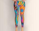 African, Women Leggings, Floral, Abstract, Pattern, Colorful, Yoga Leggings, Yoga Pants, Clothing, Pants, Nature
