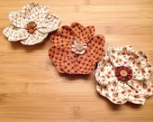 Primitive Flowers Fall Ornaments Tan and Orange Bowl Fillers Holiday Decor