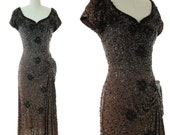 Vintage 1940s Dress - Rare Heavily Sequined and Beaded Brown and Black Bombshell Cocktail Dress with Asymmetric Drape